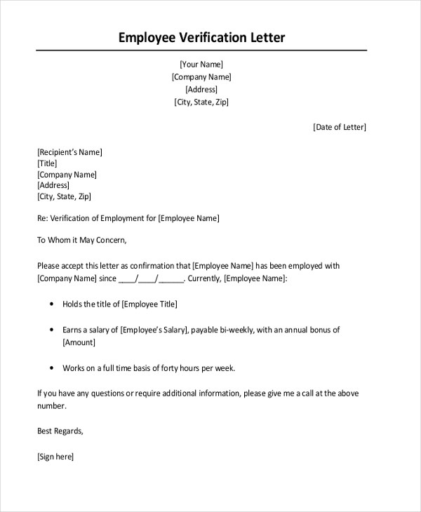 Letter For Proof Of Employment  BesikEightyCo