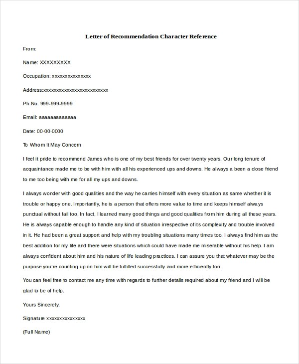 Character Recommendation Letter Court