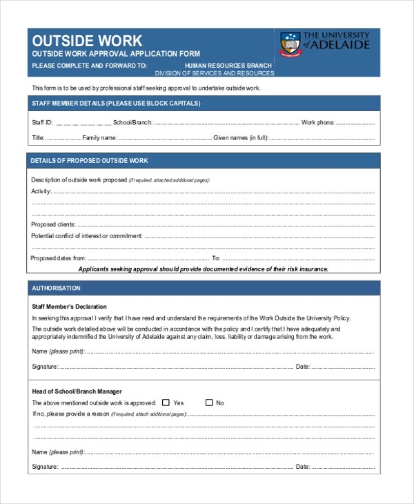 Free 8 Sample Work Application Forms In Word Pdf