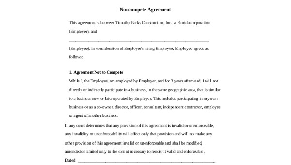 Free 8 Sample Non Compete Agreement Forms In Pdf Ms Word