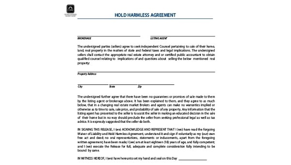 Free 8 Sample Hold Harmless Agreement Forms In Pdf Ms Word