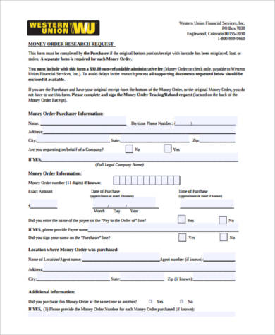 Customer Request Form | Results For Western Union Money Order Customer Request Form