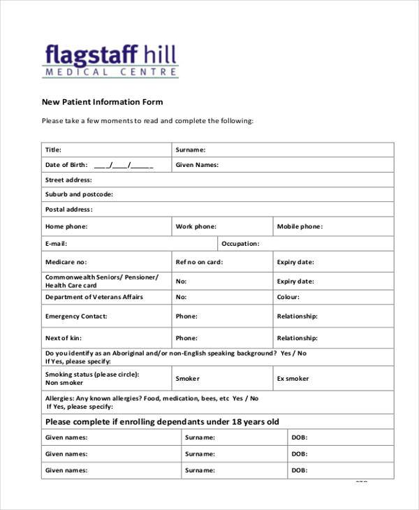 Blank patient registration form template altavistaventures Gallery
