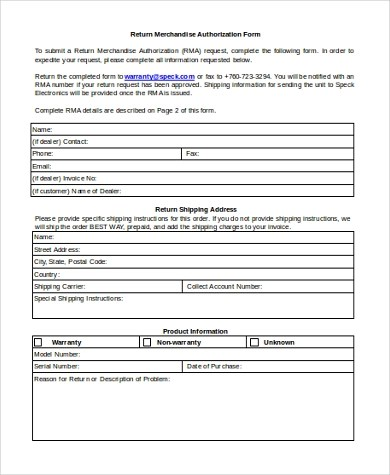 Free 10 Sample Return Authorization Forms In Ms Word Pdf