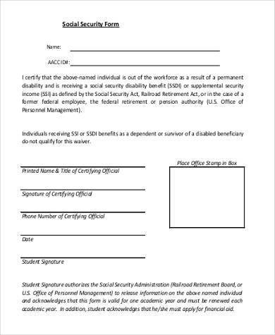 Free 7 Social Security Application Form Samples Pdf