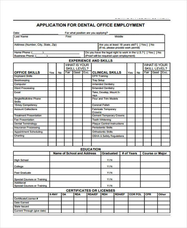Free 8 Sample Employment Application Forms In Pdf