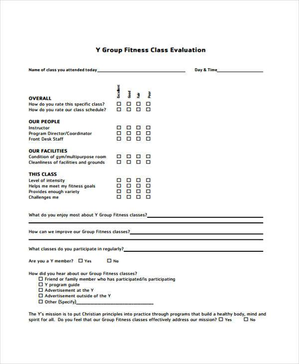7 Class Evaluation Form Samples Free Sample Example Format
