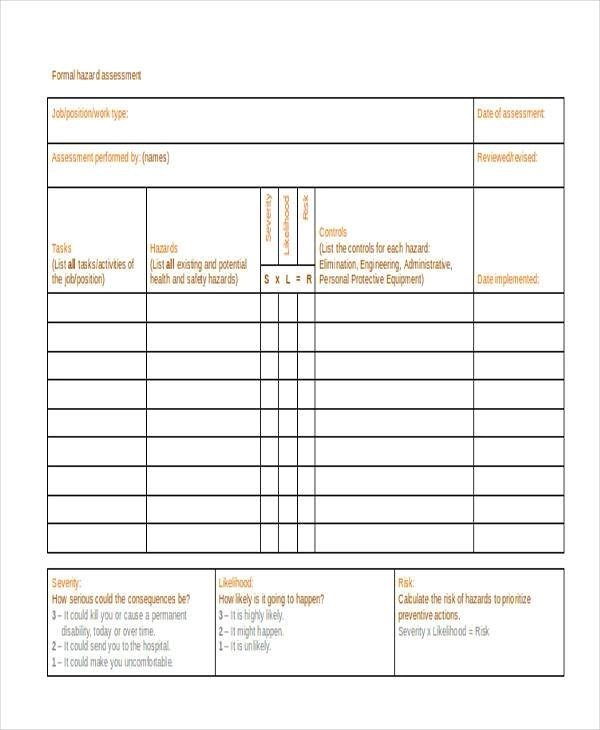Free 28 Sample Blank Assessment Forms In Pdf Ms Word