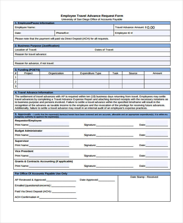 Travel Advance Request Form Sample | Mysummerjpg.com
