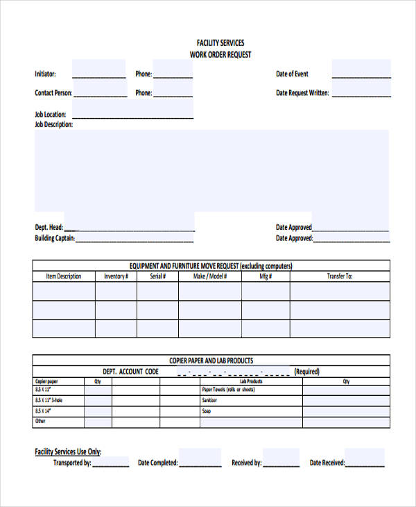 Free 22 Work Order Forms In Pdf Ms Word