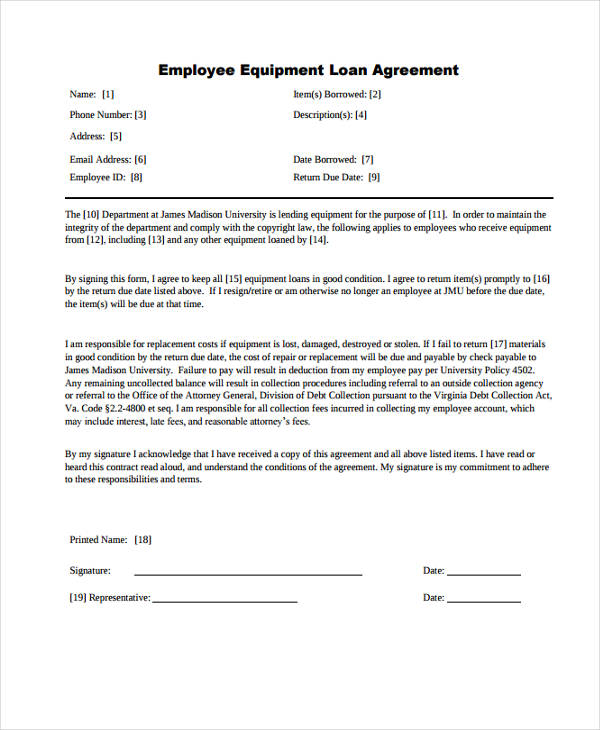 Employee Equipment Agreement Template Free Download
