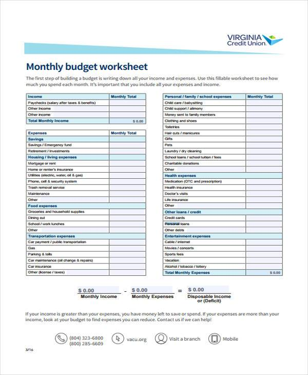 Sample Personal Monthly Budget Forms