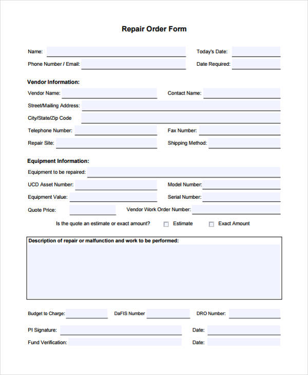 Free 20 Sample Work Order Forms In Pdf Ms Word