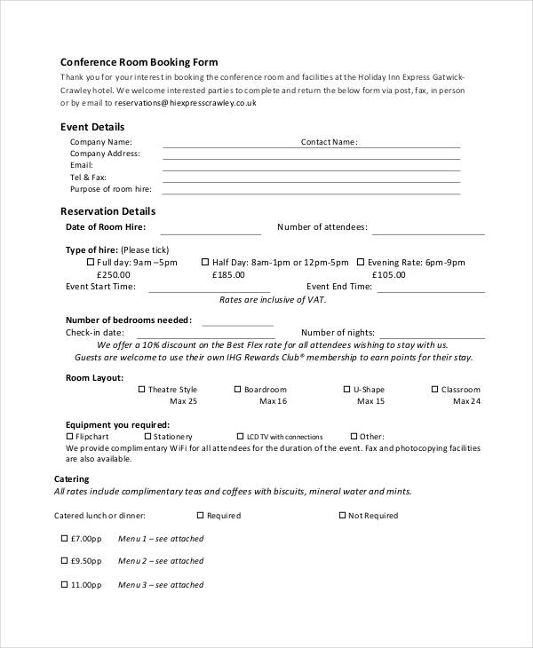 Booking Forms Pdf