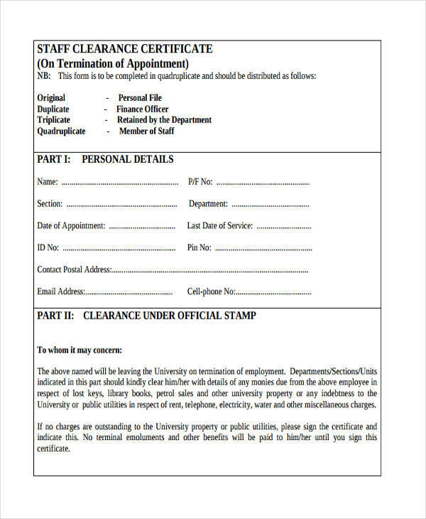 Free 17 Employee Clearance Forms In Pdf
