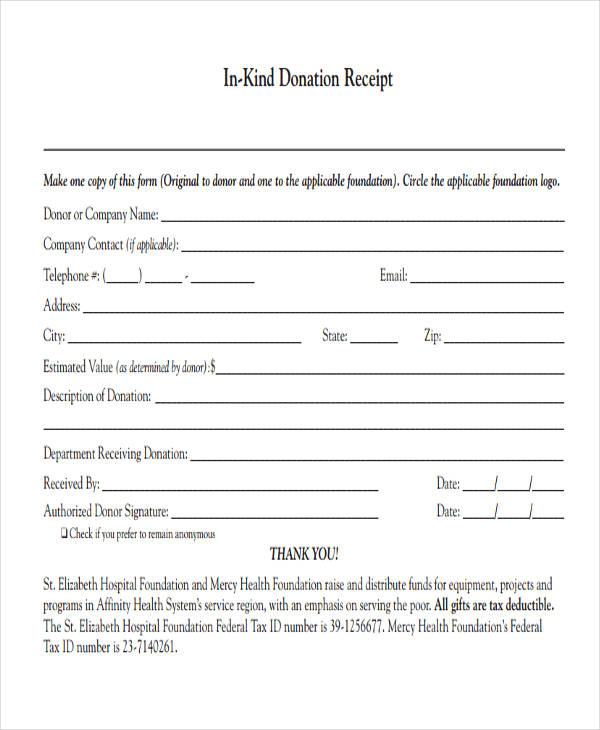 Clothing Donation Receipt