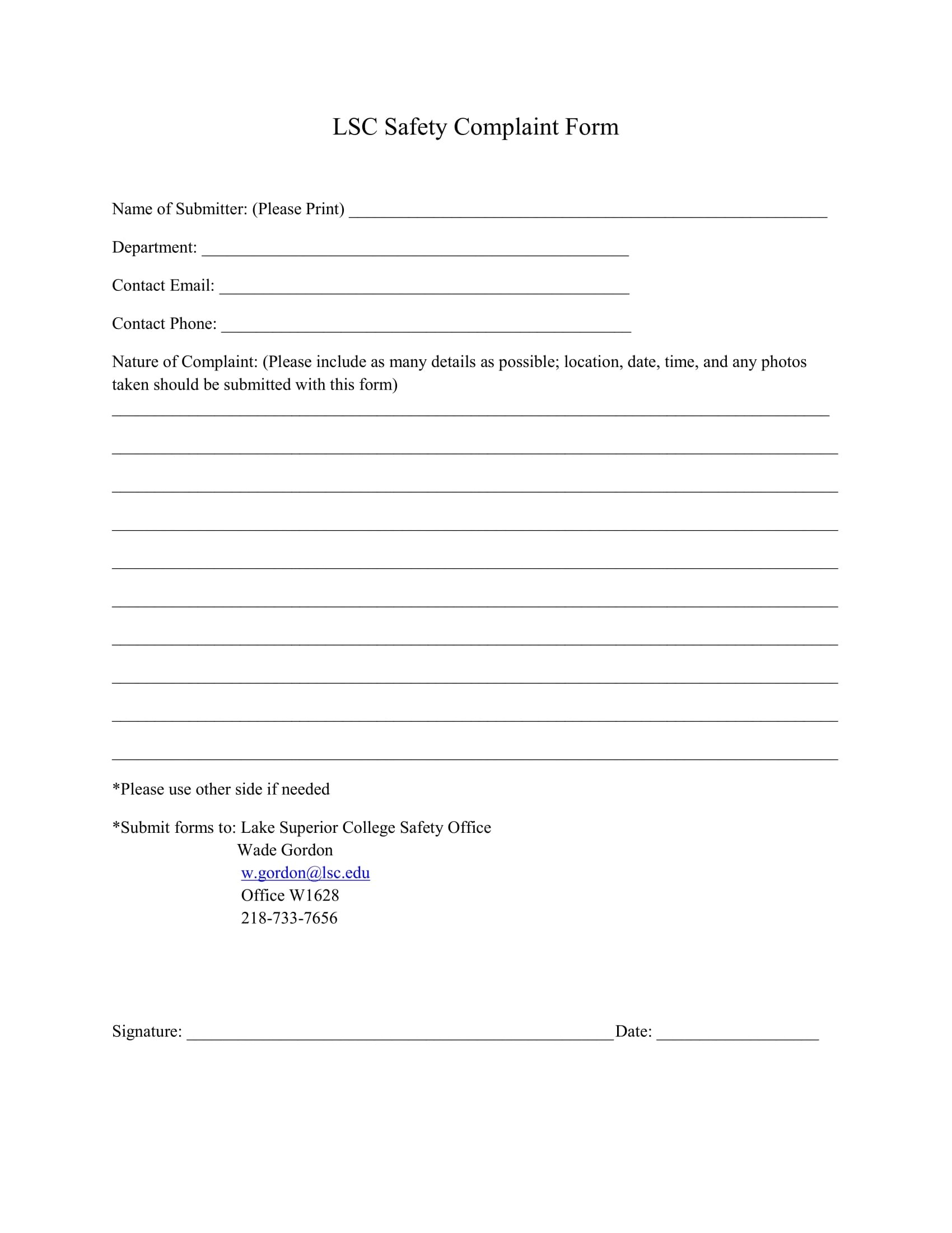 10 Safety Complaint Forms