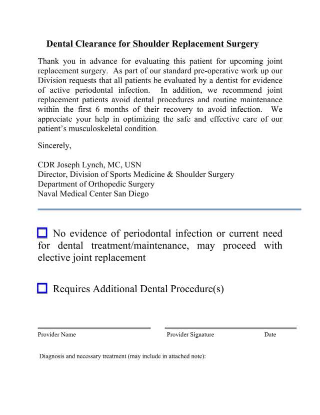 Dental Clearance Form  Free Download