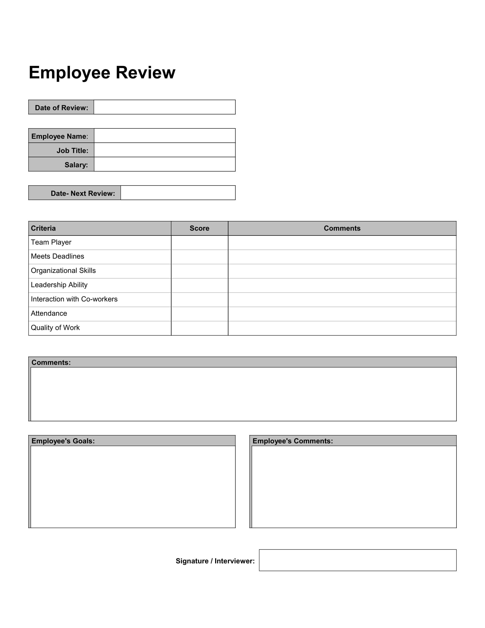 Free 10 Work Review Forms In