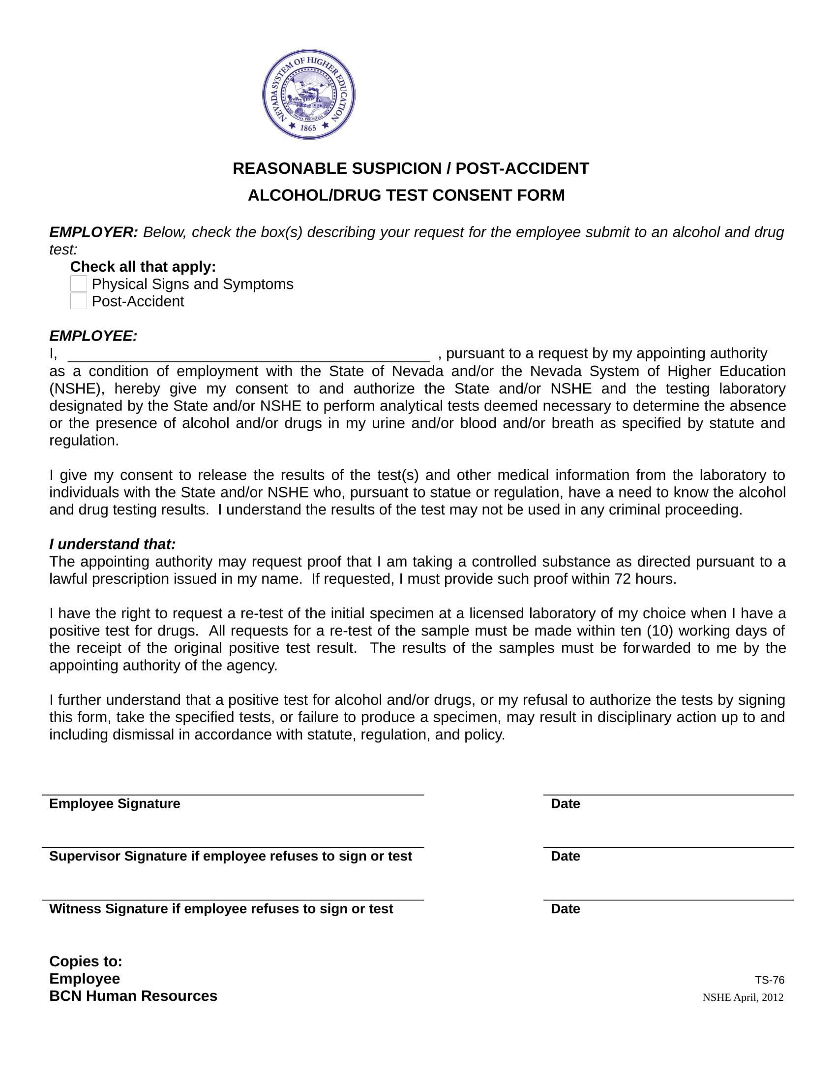 Free 14 Drug Testing Consent Forms In Pdf