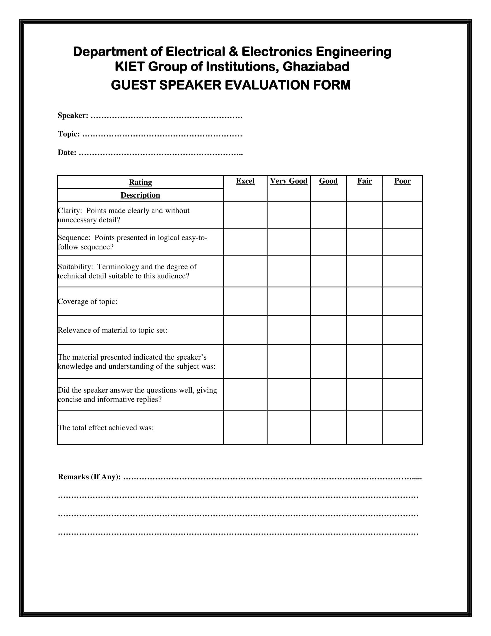 Free 14 Speaker Evaluation Forms In