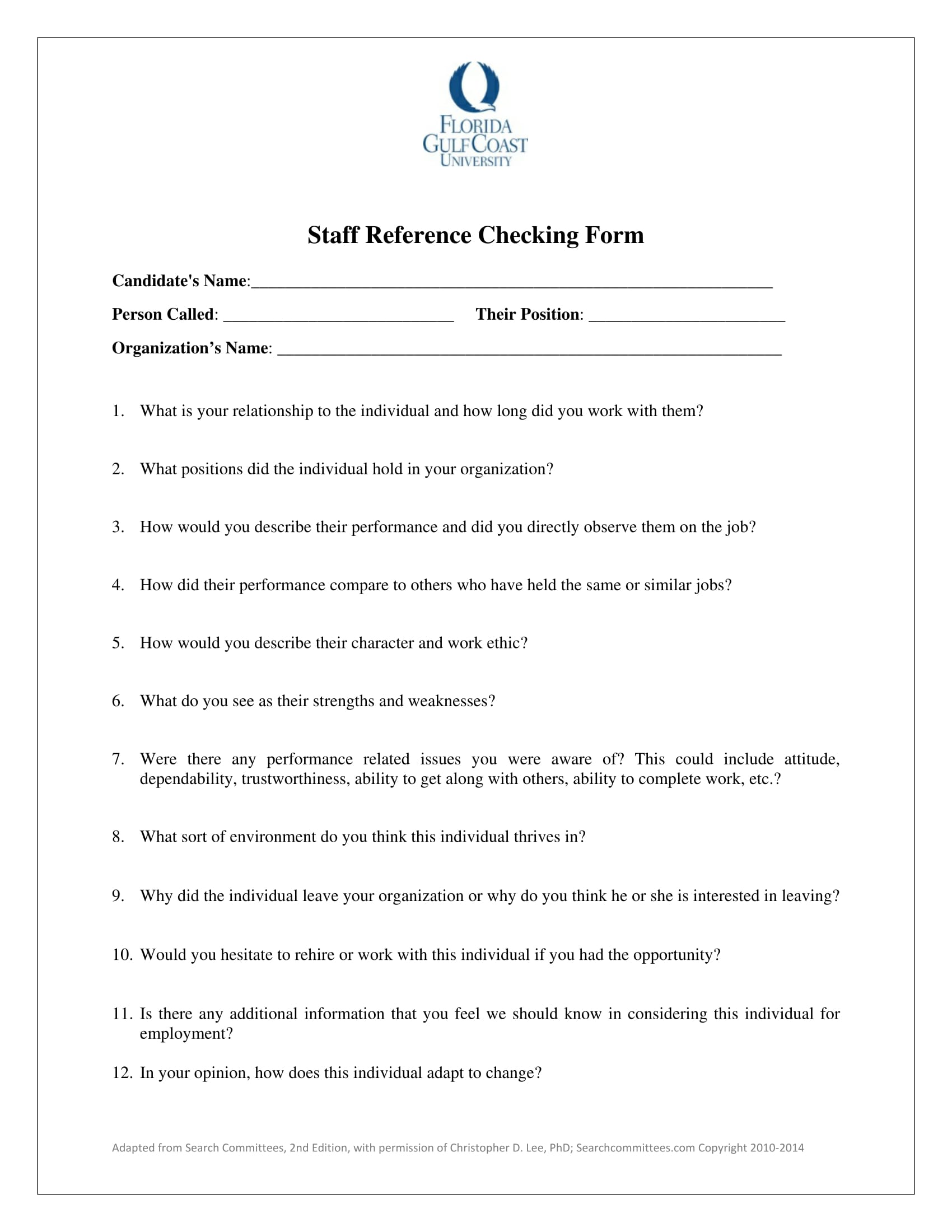 14 Reference Check Forms