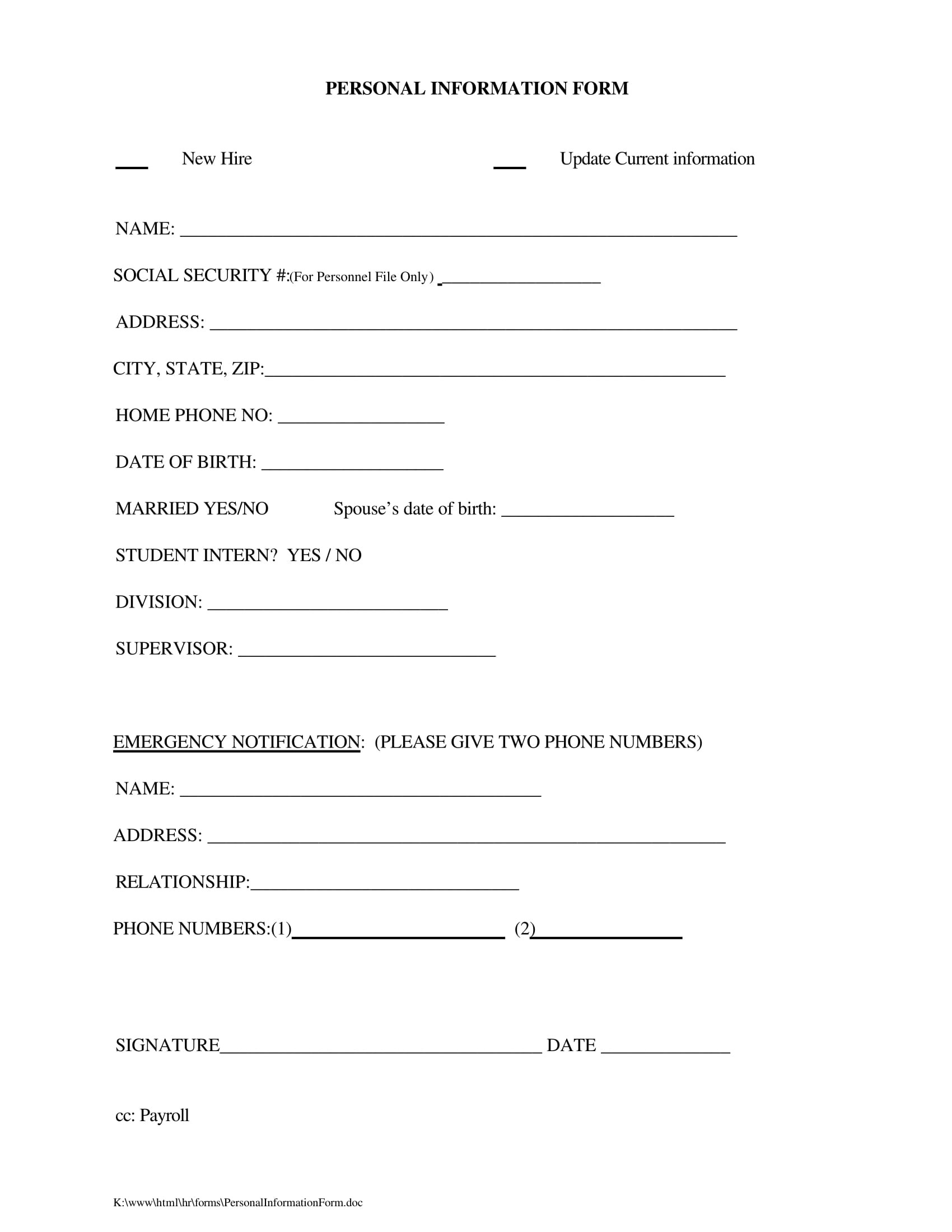 Free 16 Personal Information Forms In