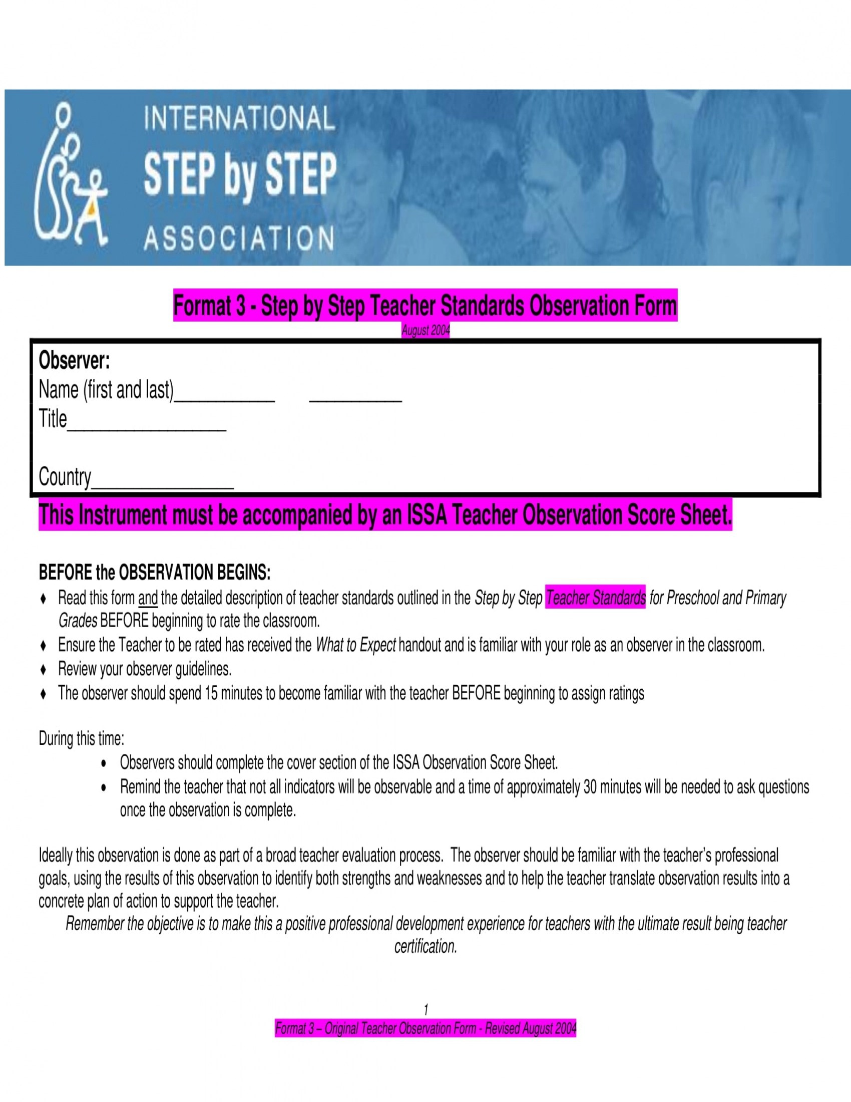 4 Child Care Observation Forms