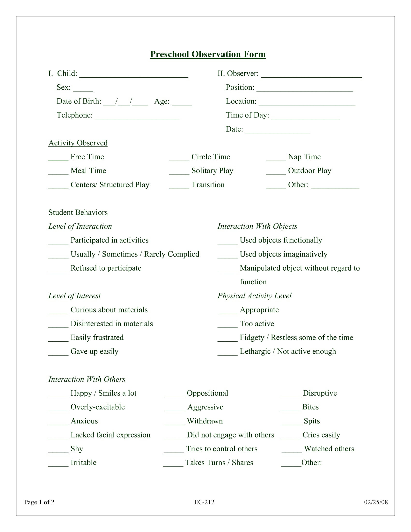 3 Preschool Observation Forms