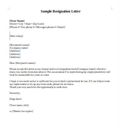 Immediate Resignation Letters In Pdf