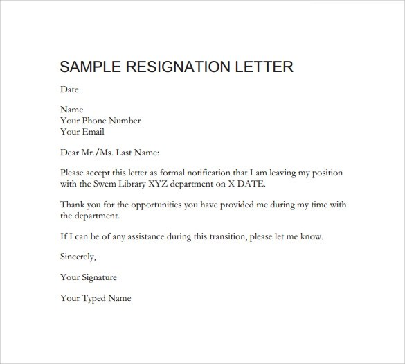 42 Formal Resignation Letters Templates In Pdf Word