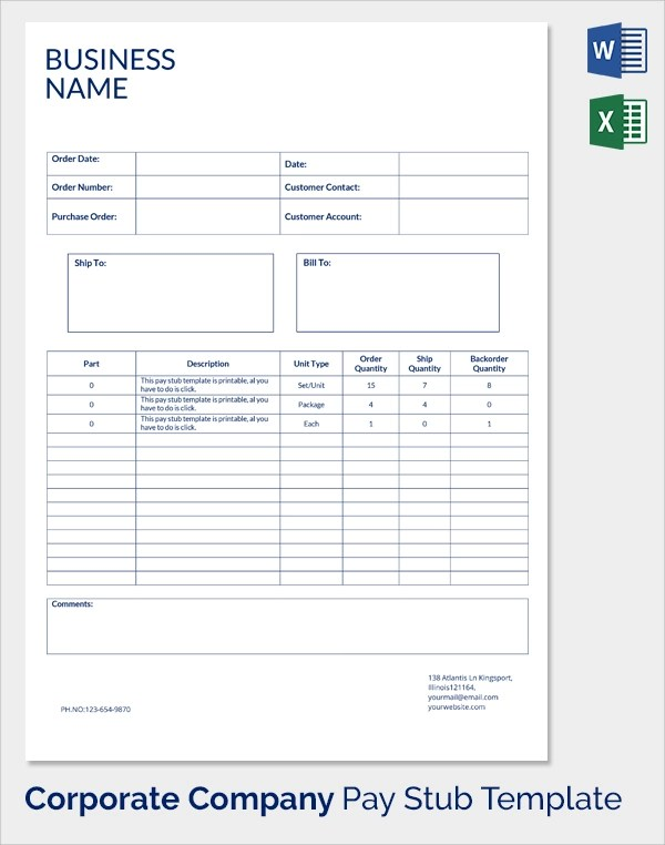 Free Paycheck Stub Template. pics photos blank pdf. adp pay stub ...