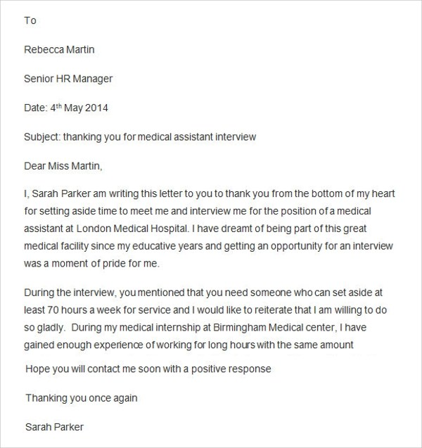 Thank You Letter For Medical Assistant  Docoments Ojazlink