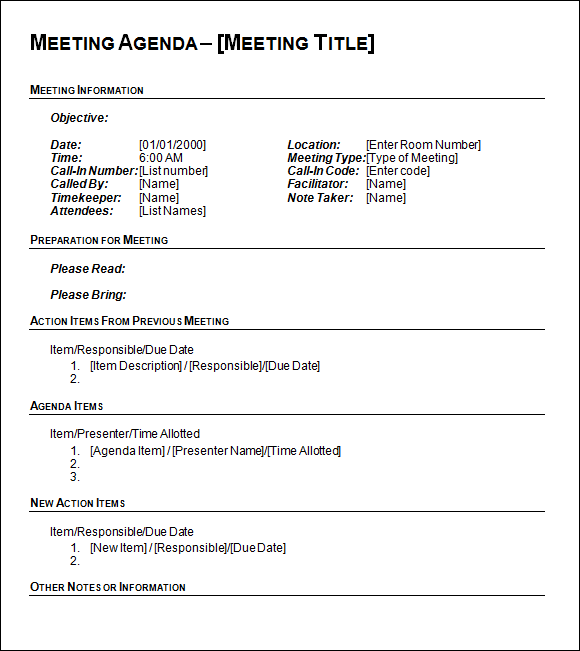 Agenda Template Free 6 free meeting agenda template outline – One on One Meeting Agenda Template