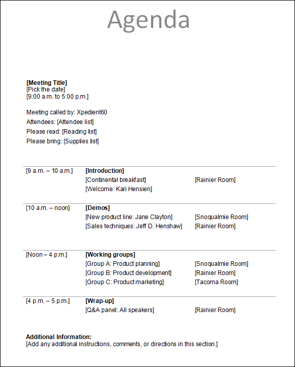 Basic Meeting Agenda Template meeting agenda template 29 free – Agenda Template for a Meeting