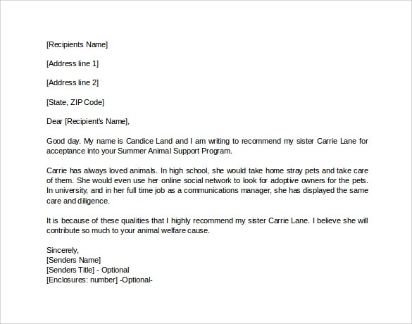 Personal Letter Of Recommendation Personal Letter Of Recommendation