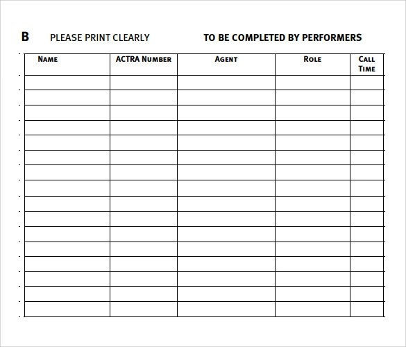 FREE 32 Sample Sign In Sheet Templates In PDF Word Apple Pages