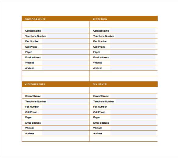 event guest list template sample templates printable wedding – Event Guest List Template