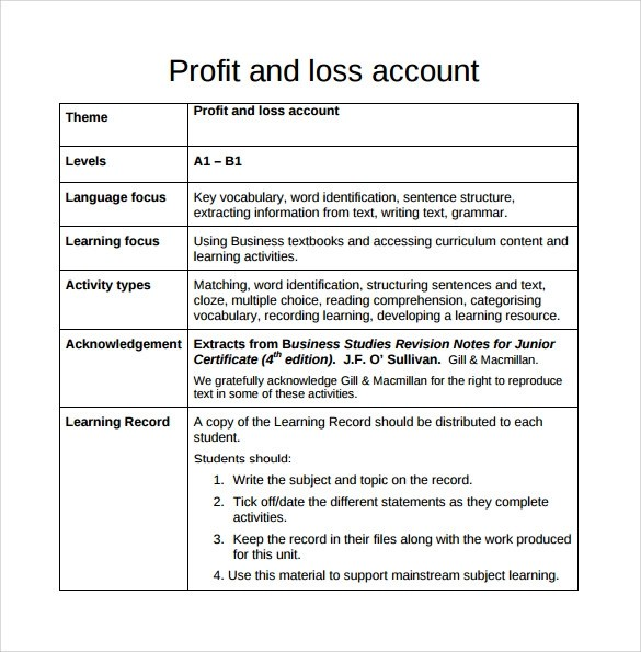 Profit Loss Template. Profit And Loss Template 18 Download Free