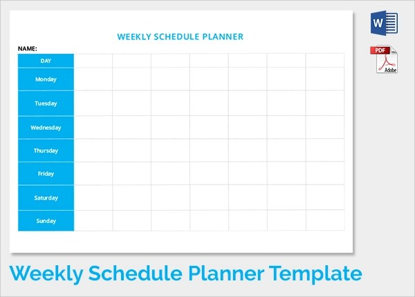 Word Weekly Schedule Template free weekly schedule template for – Schedule Template for Word