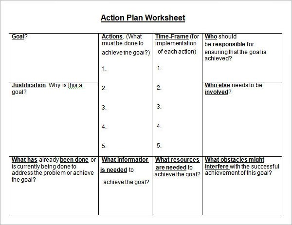 Goal Action Plan Template goals templates smart goals template is – Action Plan Worksheet