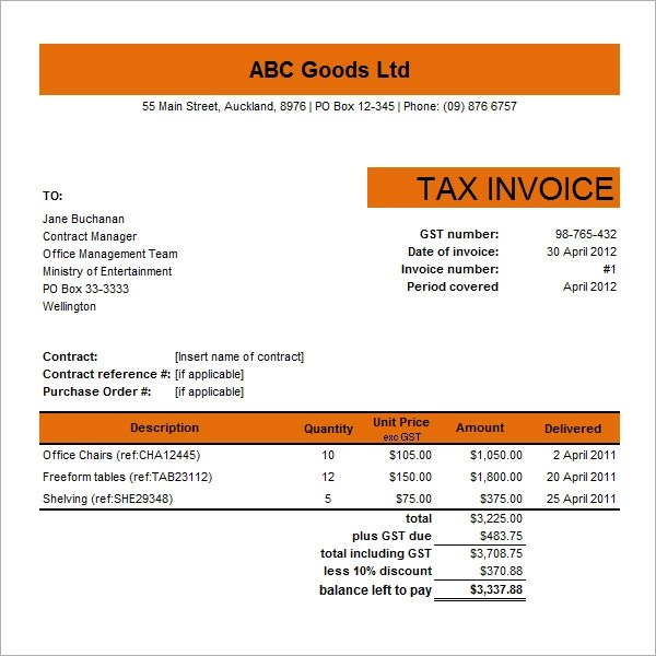 personal invoice template doc – neverage, Invoice examples