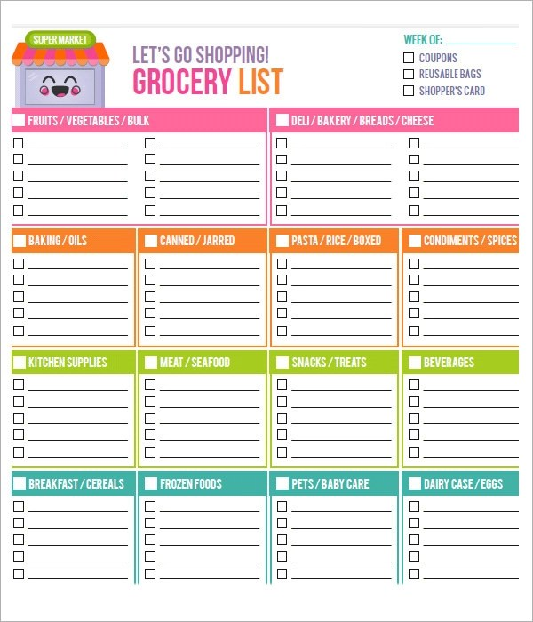 Blank Grocery List Template click the link below for the pdf – Grocery List Word