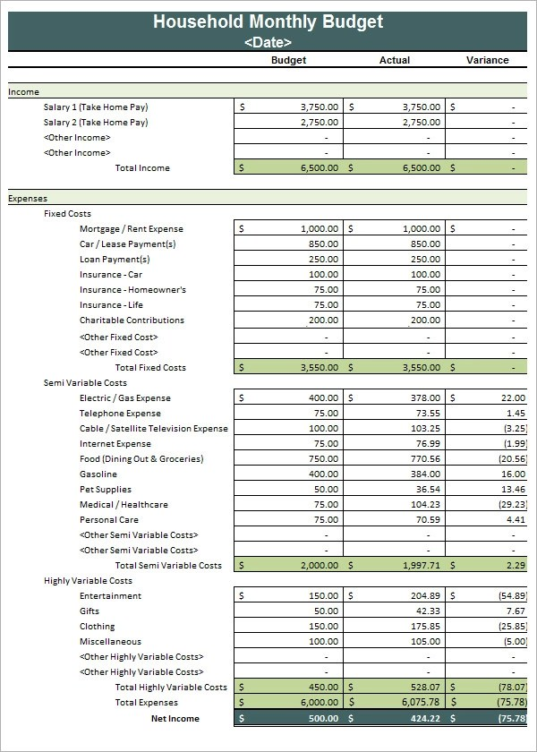 Family Budget Template Free. 10 household budget templates free ...