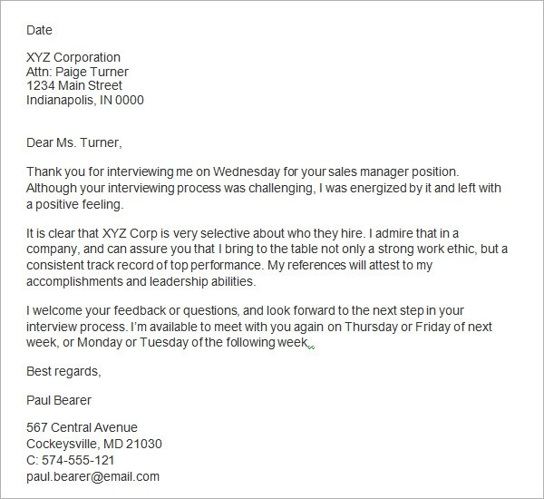 Sample Email Thank You Letter After Interview  Docoments Ojazlink