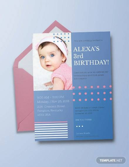 blank 2nd birthday invitation card template