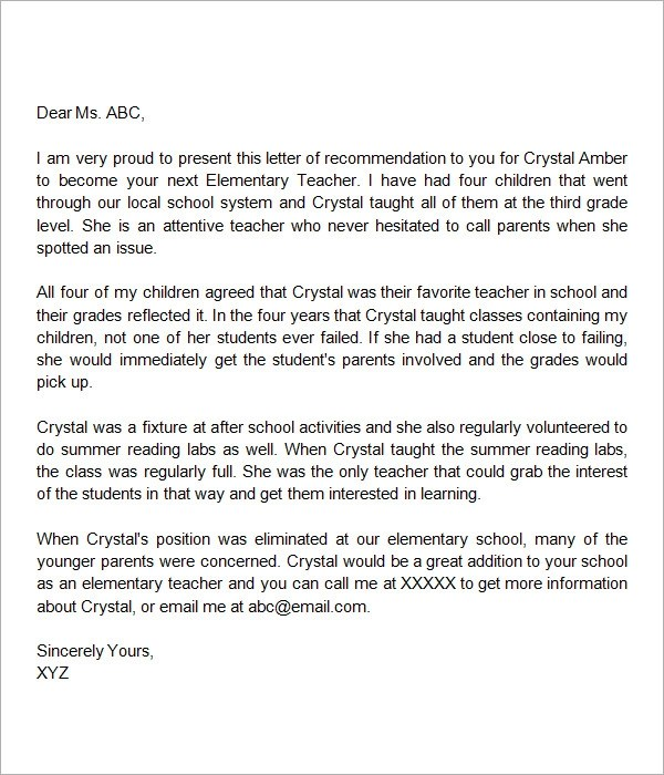 sample letters of recommendation for teacher documents word letter