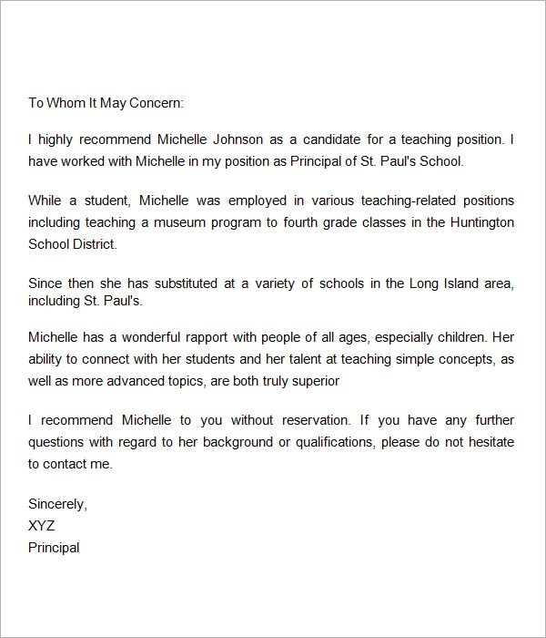 Recommendation Letter For Teacher Letter Of Recommendation – Sample Recommendation Letter for Scholarship from Teacher