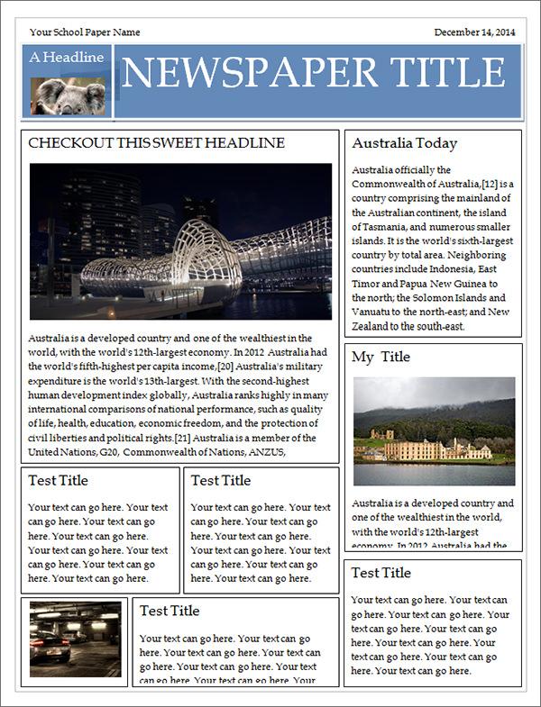 Newspaper Template Microsoft Word Free Download