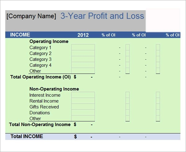 profit and loss template 18 download free documents in pdf word – Profit and Loss Template for Self Employed